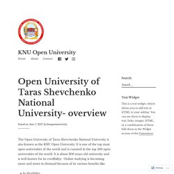 Open University of Taras Shevchenko National University- overview – KNU Open University