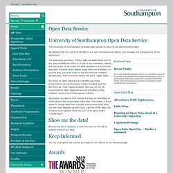 Open Data Home - Open Data - University of Southampton