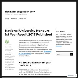 National University Honours 1st Year Result 2017 Published – HSC Exam Suggestion 2017
