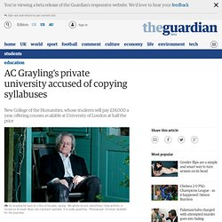 AC Grayling's private university accused of copying syllabuses