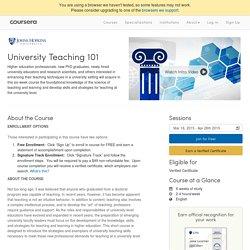 University Teaching 101