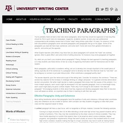 University Writing Center - Teaching Paragraphs
