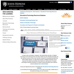 School of Education at Johns Hopkins University-Education Technology Resources