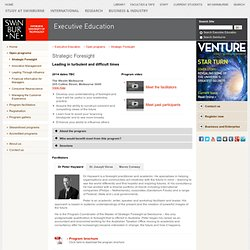Strategic Foresight > Our programs > Executive Education > Swinburne University of Technology
