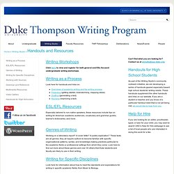 University | Thompson Writing Program: Handouts and Resources