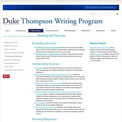 University | Thompson Writing Program: Working with Sources