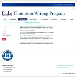 University | Thompson Writing Program: Writing as a Process