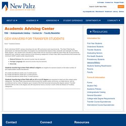 State University of New York at New Paltz: GEIII Waivers for Transfer Students