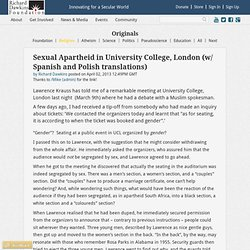 Dawkins: Sexual Apartheid in University College, London