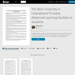 The Best University in Uttarakhand Provides Advanced Learning Facilities to Students