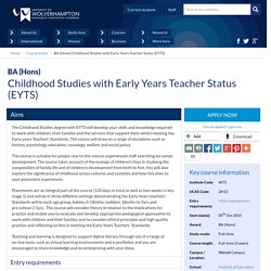 BA (Hons) Childhood Studies with Early Years Teacher Status (EYTS)