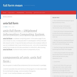 unix full form - full form mean