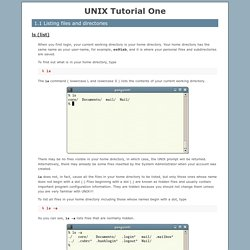 UNIX Tutorial One