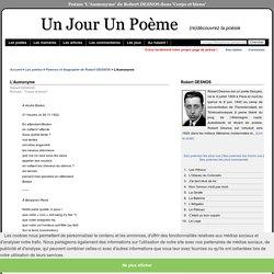 L'Aumonyme de Robert DESNOS dans 'Corps et biens' sur UnJourUnPoeme.fr : lectures, commentaires, recueils