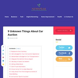 9 Unknown Things About Car Auction - Newspeakblog