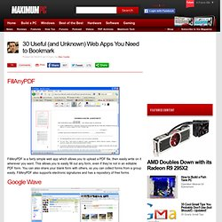 30 Useful (and Unknown) Web Apps You Need to Bookmark - Page 2 - StumbleUpon