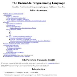 The Unlambda Programming Language
