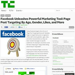 Facebook Unleashes Powerful Marketing Tool: Page Post Targeting By Age, Gender, Likes, and More