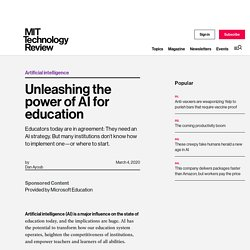 Unleashing the power of AI for education