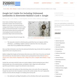 Google Isn't Liable For Including Unlicensed Locksmiths in Directories–Baldin...