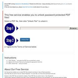 Unlock your password protected PDF files online for FREE!