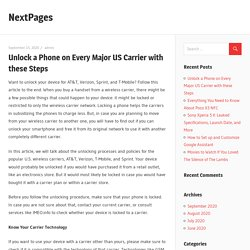 Unlock a Phone on Every Major US Carrier with these Steps – NextPages