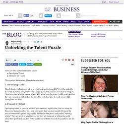 Unlocking the Talent Puzzle