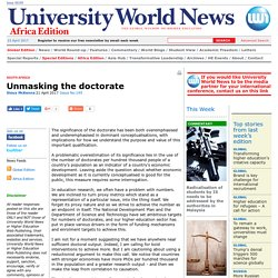 Unmasking the doctorate
