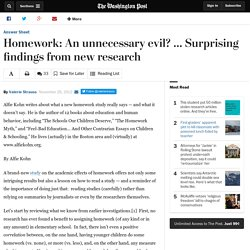 Homework: An unnecessary evil? … Surprising findings from new research