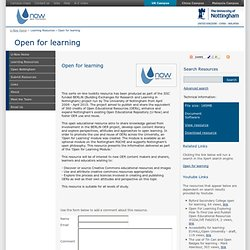 U-NOW: Resource -Open for learning