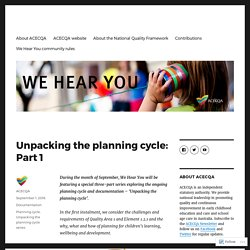 Unpacking the planning cycle: Part 1 – We Hear You