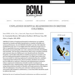 Unplanned hospital readmissions in British Columbia