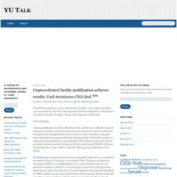Unprecedented faculty mobilization achieves results: York terminates CIGI deal « YU Talk