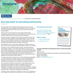 One step closer to unravelling child poverty - Growing Up in New Zealand