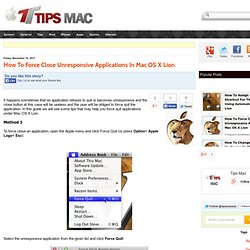 How To Force Close Unresponsive Applications In Mac OS X Lion