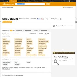 Unsociable Synonyms, Unsociable Antonyms