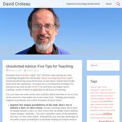 Unsolicited Advice: Five Tips for Teaching – David Croteau