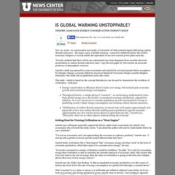 Is Global Warming Unstoppable? - University of Utah News Release: November 22nd, 2009