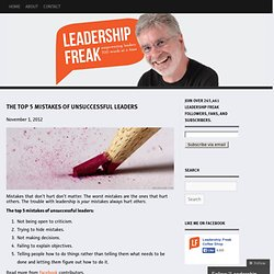 The Top 5 Mistakes of Unsuccessful Leaders