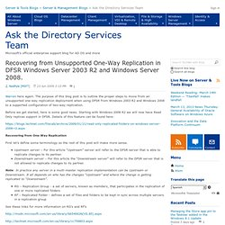 Recovering from Unsupported One-Way Replication in DFSR Windows Server 2003 R2 and Windows Server 2008. - Ask the Directory Services Team