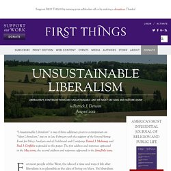 Unsustainable Liberalism by Patrick J. Deneen