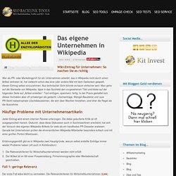 Das eigene Unternehmen in Wikipedia » SEO-Backlink-Tools-Backlinkaufbau