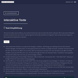Unterrichtsidee zu interaktiven Texten