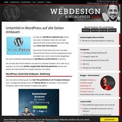 Untertitel in Wordpress auf alle Seiten einbauen