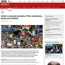 India's unusual protests: Pink underwear, poop and snakes - BBC News