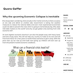 Why the upcoming Economic Collapse is inevitable