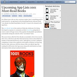 Upcoming App Lists 1001 Must-Read Books