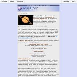 Upcoming webinar with Adam, Gary & Julene on Midnight Star Saturn