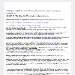 HDSDR & RTL Dongle. Upconverter, Panadaptor. - g4zfqradio