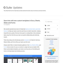 G Suite Update Alerts: Save time with new custom templates in Docs, Sheets, Slides and Forms